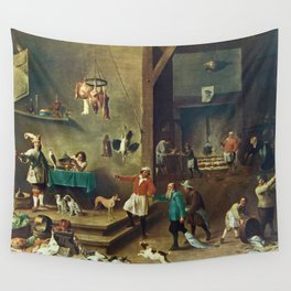 The Kitchen by David Teniers the Younger Wall Tapestry