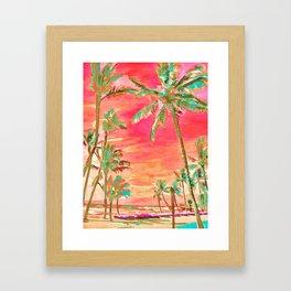 Vintage Hawaiian Beach, Mauna Lani Bay Framed Art Print