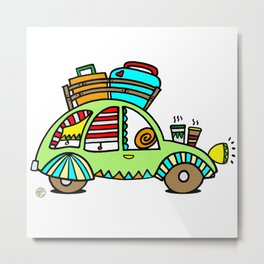 A Roadtrip with My Green Citroen 2CV! Metal Print