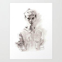 Girl Short Hair and  Shirt Art Print