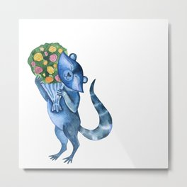 Cute funny raccoon with bouquet of flowers. Animal character. St. Valentine illustration. Metal Print