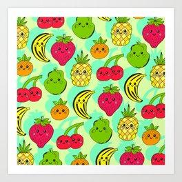 Kawaii Fruits Art Print