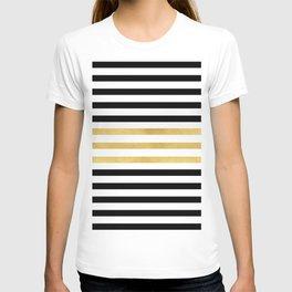 Luxurious zebra golden black lines T-shirt