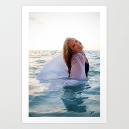 Rachel in white and blue Art Print
