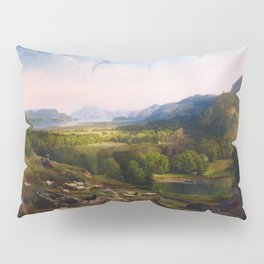 Shepherdess Watching Her Flock 1867 By Thomas Moran | Earthy Natural Scenic View Reproduction Pillow Sham