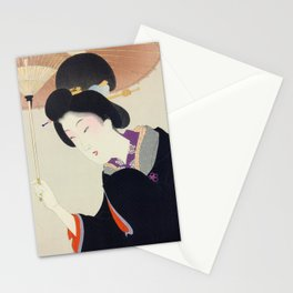 Japanese Art Print - Woman and Parasol Stationery Cards