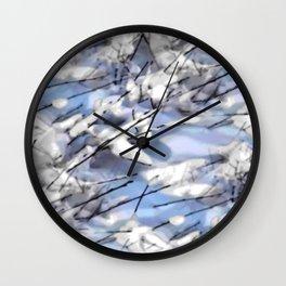 Snow on twigs Wall Clock