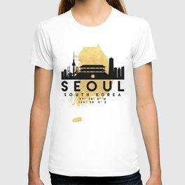 SEOUL SOUTH KOREA SILHOUETTE SKYLINE MAP ART T-shirt