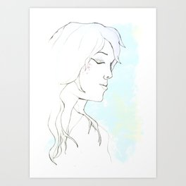 Girl in blue Art Print
