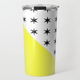 Black Stars And Sunshine Yellow - Colourful pattern Travel Mug
