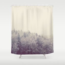 A snow covered woodland in the German Alps Shower Curtain