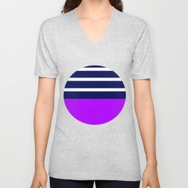 Summer Patio Perfect, Purple, White & Navy Unisex V-Neck