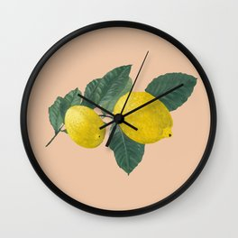 Oil painting of a lemon tree branch with two lemons, isolated on apricot background. Wall Clock