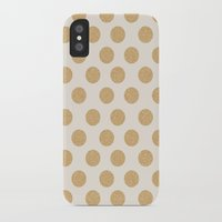 gold dots iPhone & iPod Cases featuring Glittering Gold Dots by Allyson Johnson