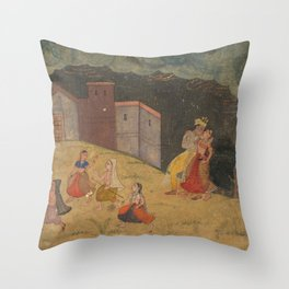 Radha and Krishna Caught in a Storm - 17th Century Classical Hindu Art Throw Pillow