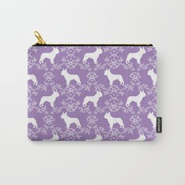 French Bulldog floral minimal purple and white pet silhouette frenchie pattern Carry-All Pouch