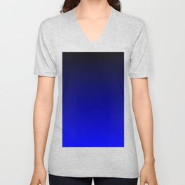 Midnight Black to blue ombre flame gradient Unisex V-Neck