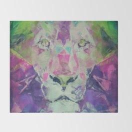 Neon Lion Art Print Throw Blanket