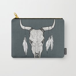 Decorated Bull Skull Carry-All Pouch