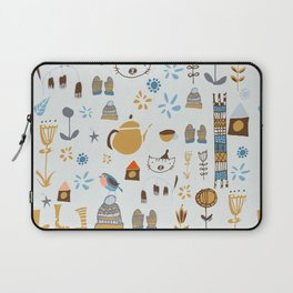 hygge cat and bird gray Laptop Sleeve