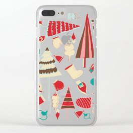 Vintage Christmas Pink Clear iPhone Case