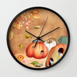 Autumnal Mice fun with pumpkin Wall Clock