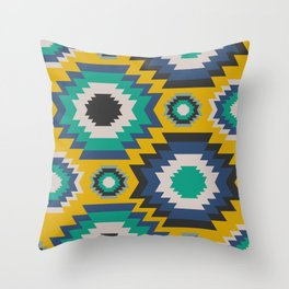Ethnic in blue, green and yellow Throw Pillow