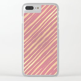 Pink Passion Gold Stripes Clear iPhone Case