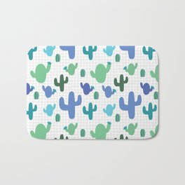 Cactus blue and green #homedecor Bath Mat