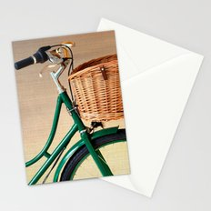 Vintage green bicycle with basket and textured background  Stationery Cards