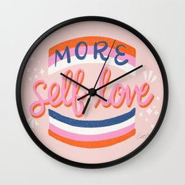 More Self Love – Pink & Blue Wall Clock
