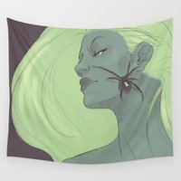 black widow Wall Tapestries featuring BLACK WIDOW by FISHNONES
