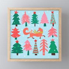 Fox And Bird In A Christmas Tree Winter Wonderland Framed Mini Art Print