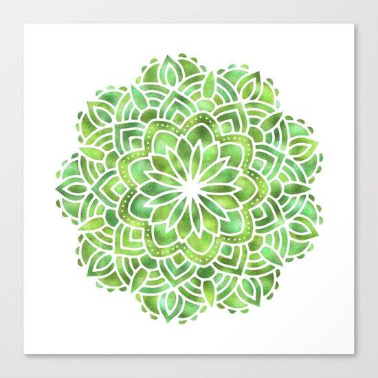 Mandala Green Leaves Canvas Print