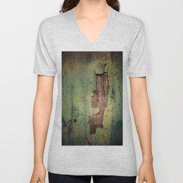 Old piece of wood painted green and peeling Unisex V-Neck