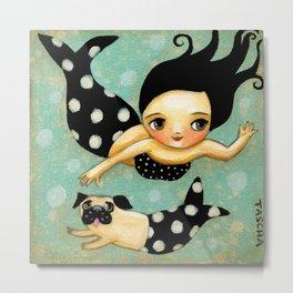 Pug Mermaid swimming in the sea by Tascha Parkinson Metal Print