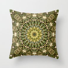 Geometric Forest Mandala Throw Pillow