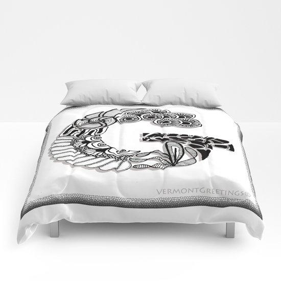 Zentangle G Monogram Alphabet Illustration Comforters