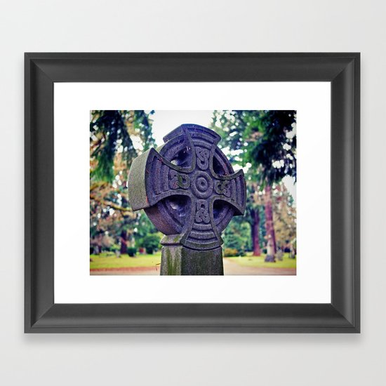 Celtic gravestone Framed Art Print