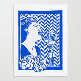 Lady Day (Billie Holiday block print) Poster