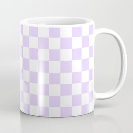 Large Chalky Pale Lilac Pastel Color and White Checkerboard Coffee Mug
