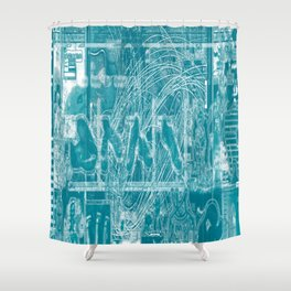 Life Only Makes Sense In Certain Fictions [Now In Duotone - Teal] Shower Curtain