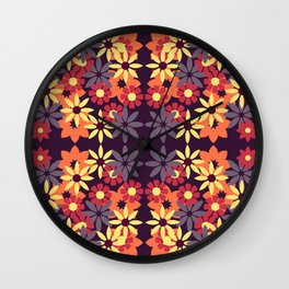 pattern with leaves and flowers doodling style Wall Clock