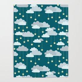 Clouds & Stars Night Sky Pattern Poster