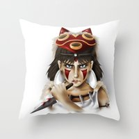 mononoke Throw Pillows featuring Mononoke by Cristina Valero
