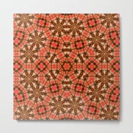 Red Plaid Geometric Design Metal Print