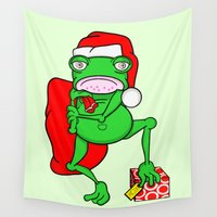 frog Wall Tapestries featuring Frog Santa by mailboxdisco