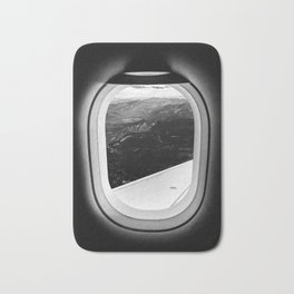 Window Seat // Scenic Mountain View from Airplane Wing // Snowcapped Landscape Photography Bath Mat