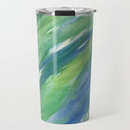 Blue green yellow watercolor hand painted brushstrokes Travel Mug