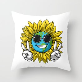 Planet Earth Sunflower Hippie Throw Pillow